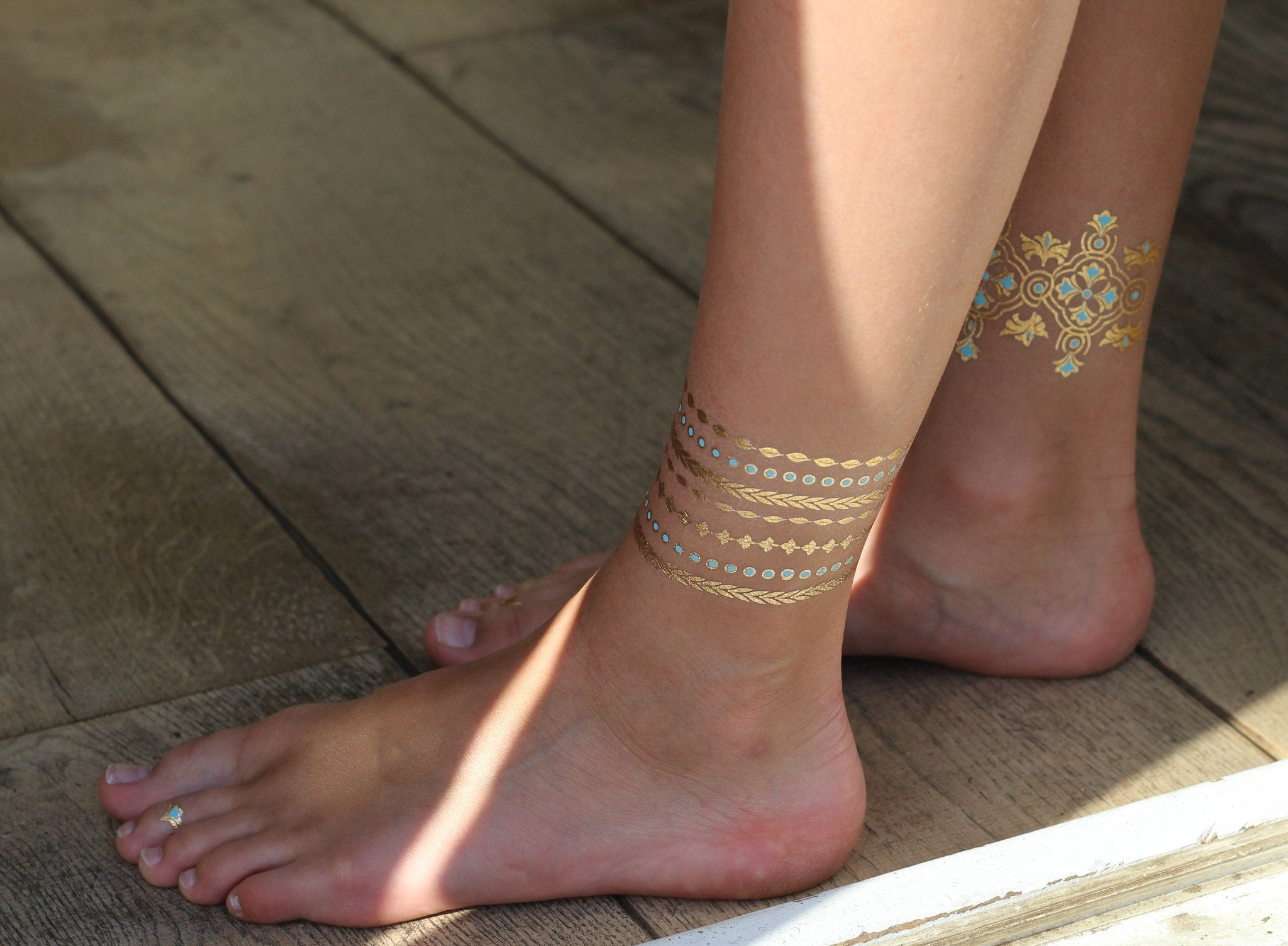 Gold & Aquamarine Metallic Temporary Jewellery Tattoos