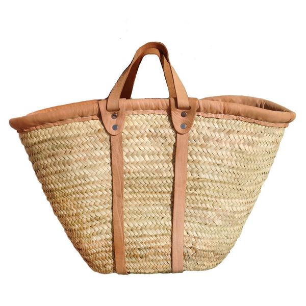 Straw Basket Flat Leather Handles