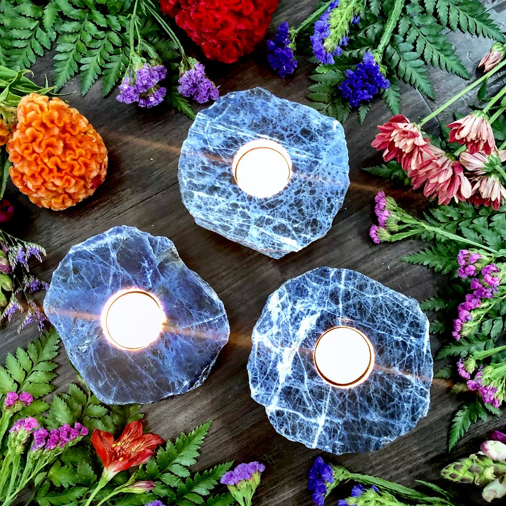Sodalite Tealight Candle Holder