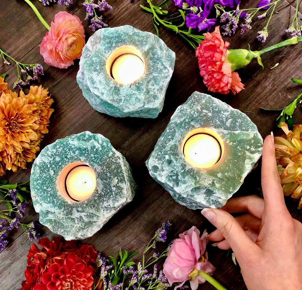 Green Aventurine | Raw Gem ~ Tealight Candle Holder