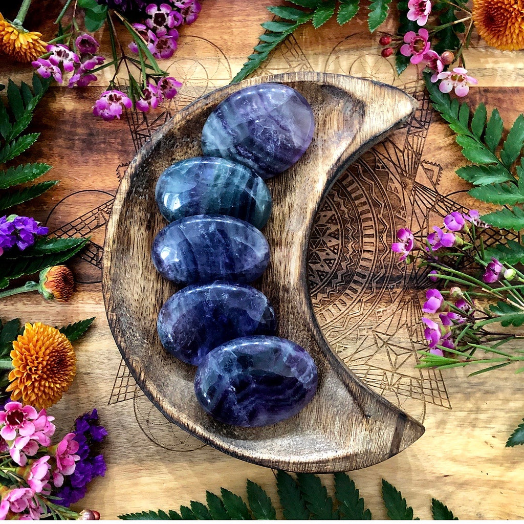 Purple Fluorite Pillow Palm Stone