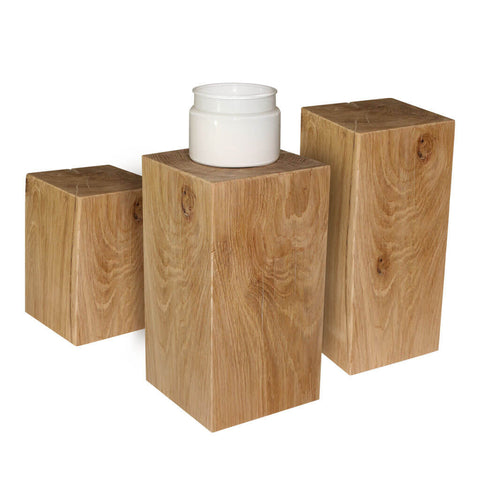 Set of 3 150x150mm Oak Beam Lamp Stands