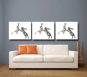 fighting hare, hare, hare print, boxing hare, rabbit gift