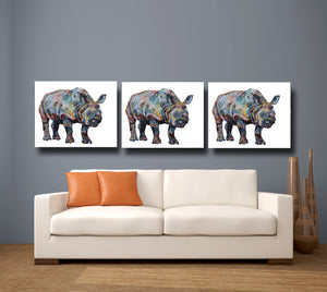 Greater One Horned Rhino 'Bertus' Giclee Canvas Print