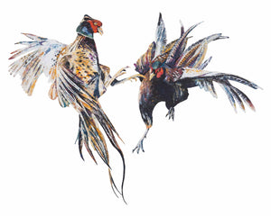 Fighting Pheasant Cocks 'Putin & Trump' Giclee Print