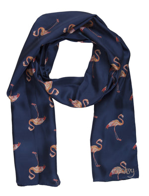 Fabulous Flamingo Silk Twill Scarf