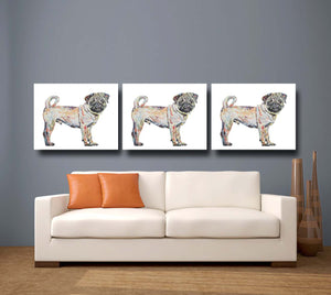 Pug 'Dug' Giclee Canvas Print