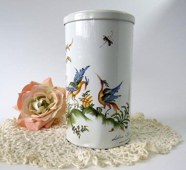 birds and butterflies tin