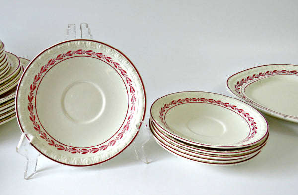 Laurel Red Spode Saucers
