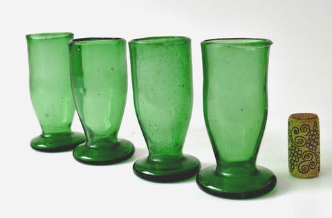 Antique 19th Century Green Handblown Sherry Glasses
