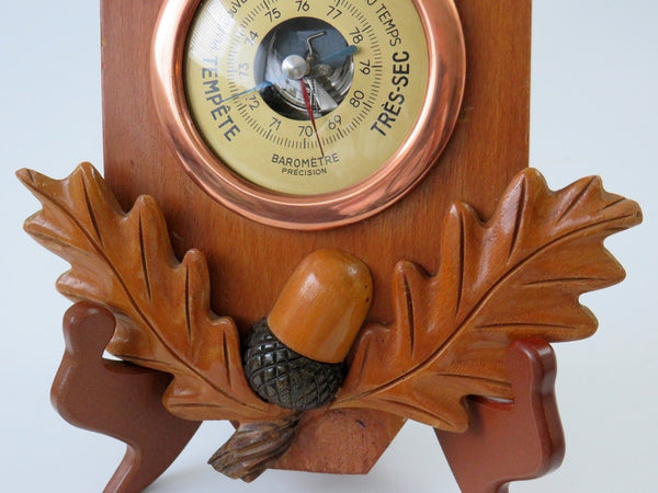 wood carved french barometer