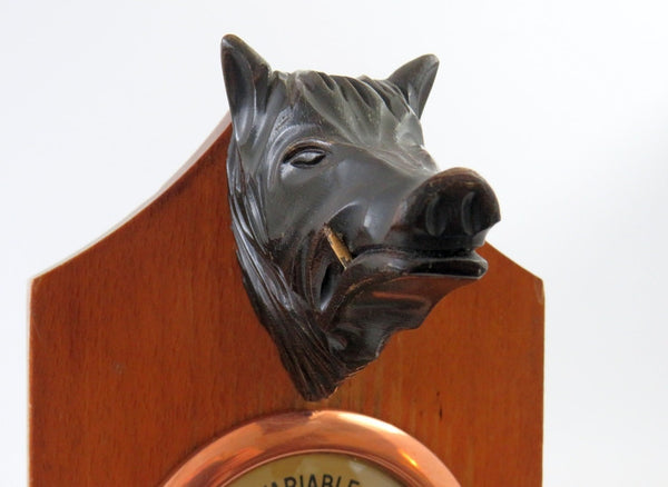 Wild Boar Wood Taxidermy Barometer
