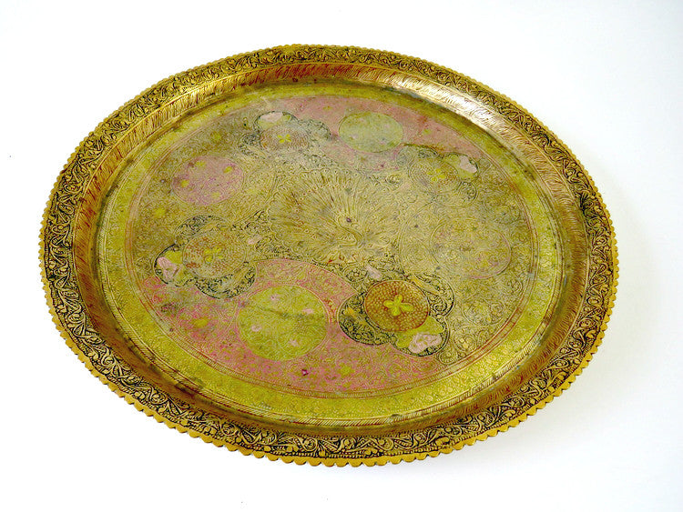 "Antique 15"" Brass Tray"