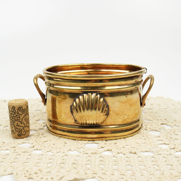 "Vintage 5"" Solid Brass Planter Two Handles, Seashell Scallop Clam Medallion"