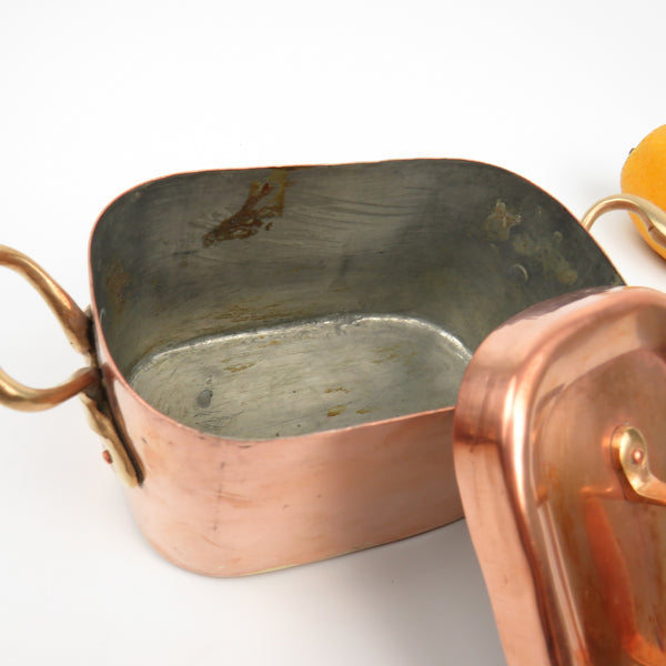 RARE Vintage Hammered Copper Pate Pan Terrine with Lid Brass Handles, Stash Box