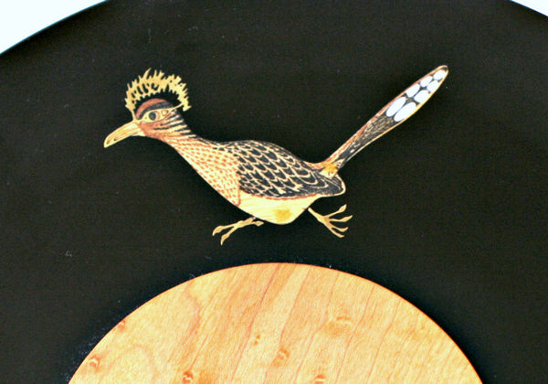 inlaid roadrunner serving plate