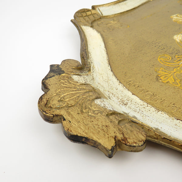 Vintage Italy Florentine Hand Painted Wood Tray White Gold Gild with Handles