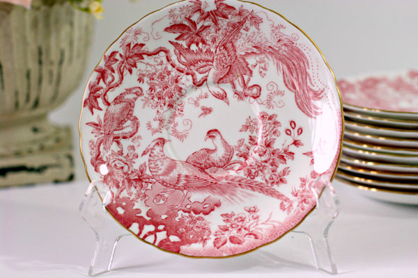 "Royal Crown Derby China, Aves Red A74, 6 1/4"" Scalloped Bread & Butter Plates, Set of  11"