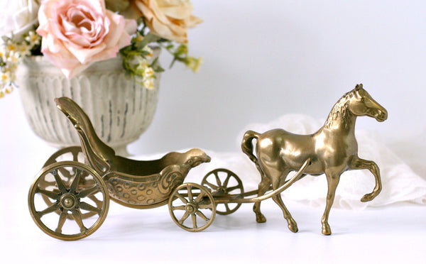 vintage brass horse and carriage