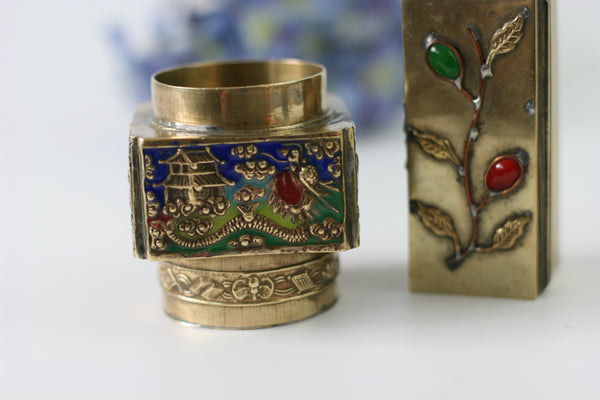 Pair of Antique China Brass Snuff Boxes - Blue Glass Repousse Inlay Stones