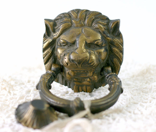 large lion head door knocker w striker plate