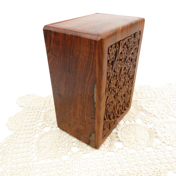 Vintage Hand Carved Floral Rosewood Stash Box Hidden Slide Out Door Hand Crafted