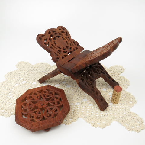 Vintage India Sheesham Carved Wood Accessories Set of 2 Folding Book Stand & Footed Trivet Mid Century