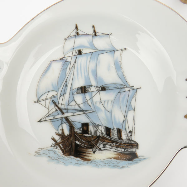 RARE Vintage Sailing Ship Cigar Ashtray by Nanco Boston Mass Souvenier Japan