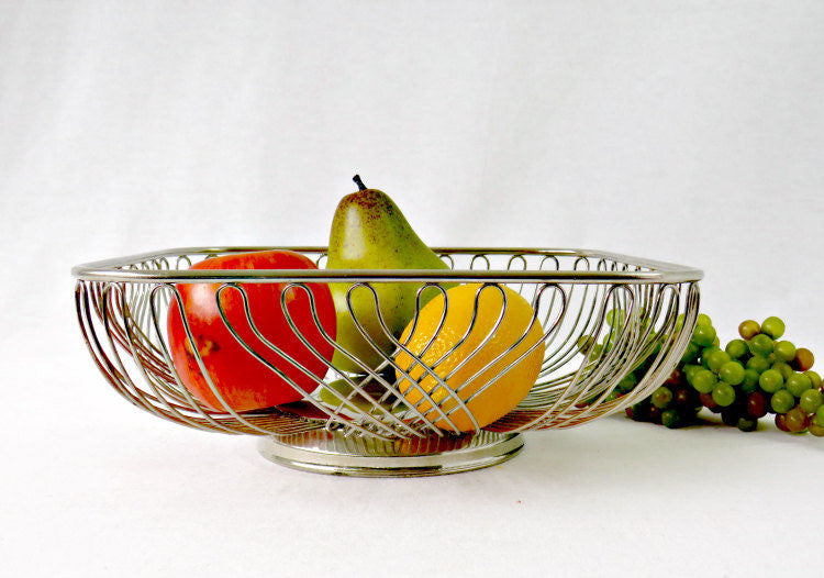 Silver Plate Wire Basket w Pedestal Base - Fruit and Bread Metal Serving Basket