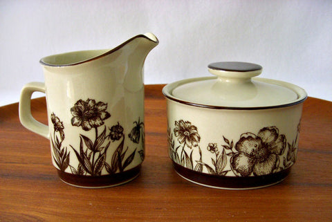 Sango Stoneware Cream & Sugar, Indian Summer Pattern 700