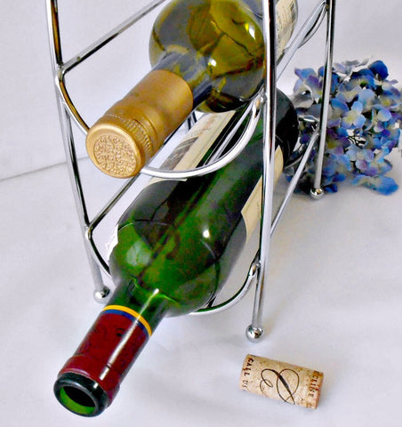 Vintage Heavy Chromed Wire Wine Caddy, Barware Wine Display