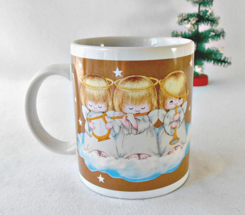 80's Hallmark Coffee Mug, Houston Harvest Musical Angel Trio on a Cloud