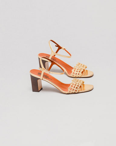 Michel Vivien Trani gold sandals