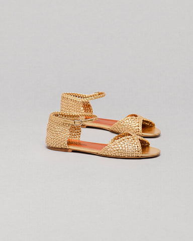 Michel Vivien Babeth Flat Gold Sandals