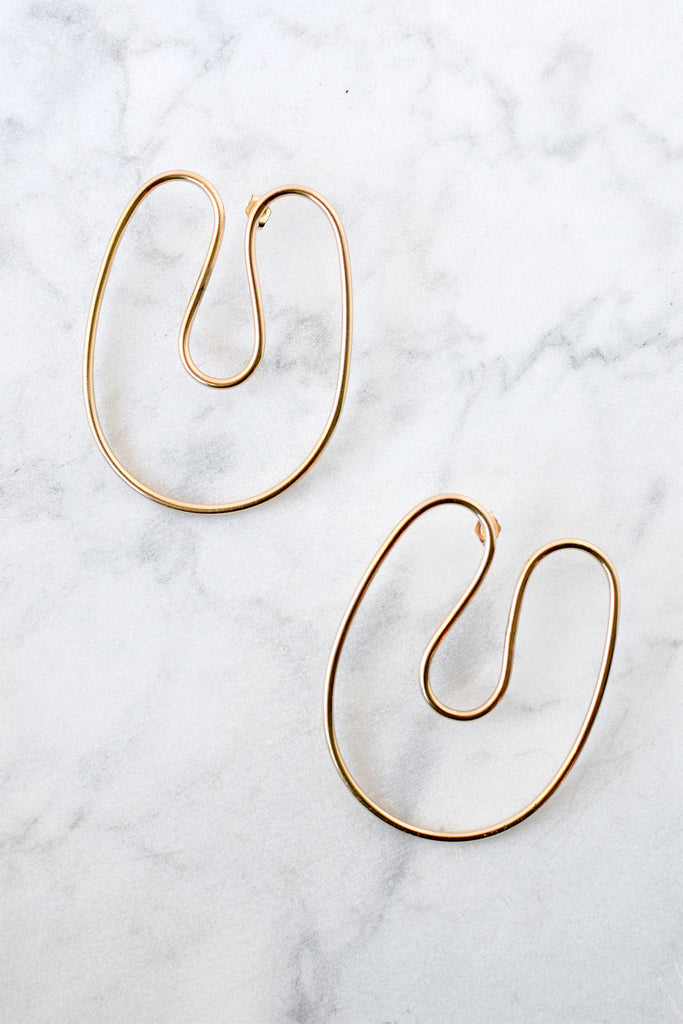 Annika Inez - Sloping Curve Earrings Large - Verdalina