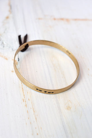 Thin Bronze Bar Leather Cuff