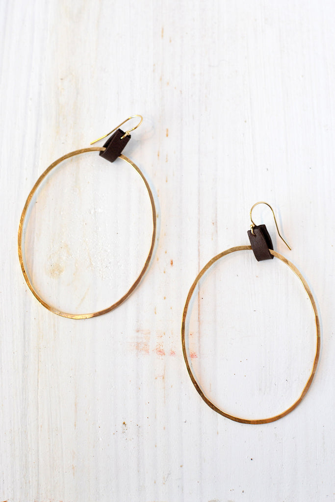CLP Jewelry - Oblong Hoop Leather Tab Earrings - Verdalina