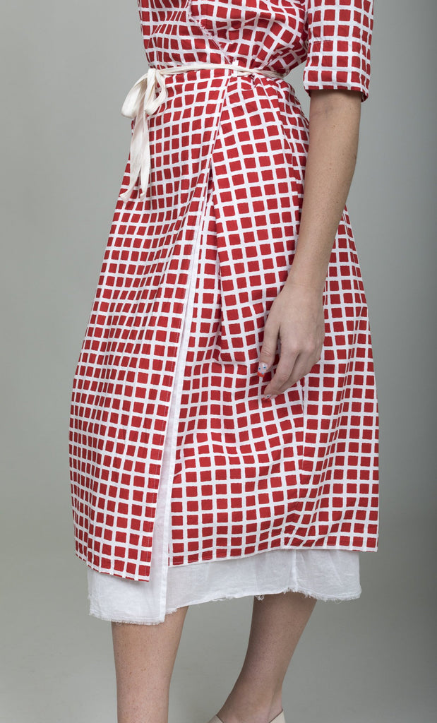 Hannoh Wessel - Rosangela Printed Dress - Red Check - Verdalina