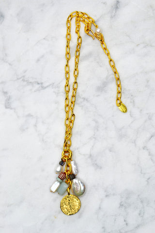 Sister Sun Necklace with 14k Rays and Stone