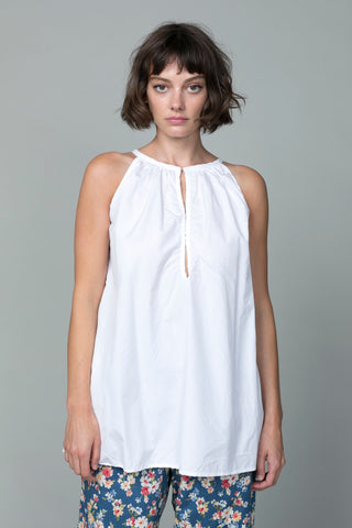 Cotton V Neck Blouse - White