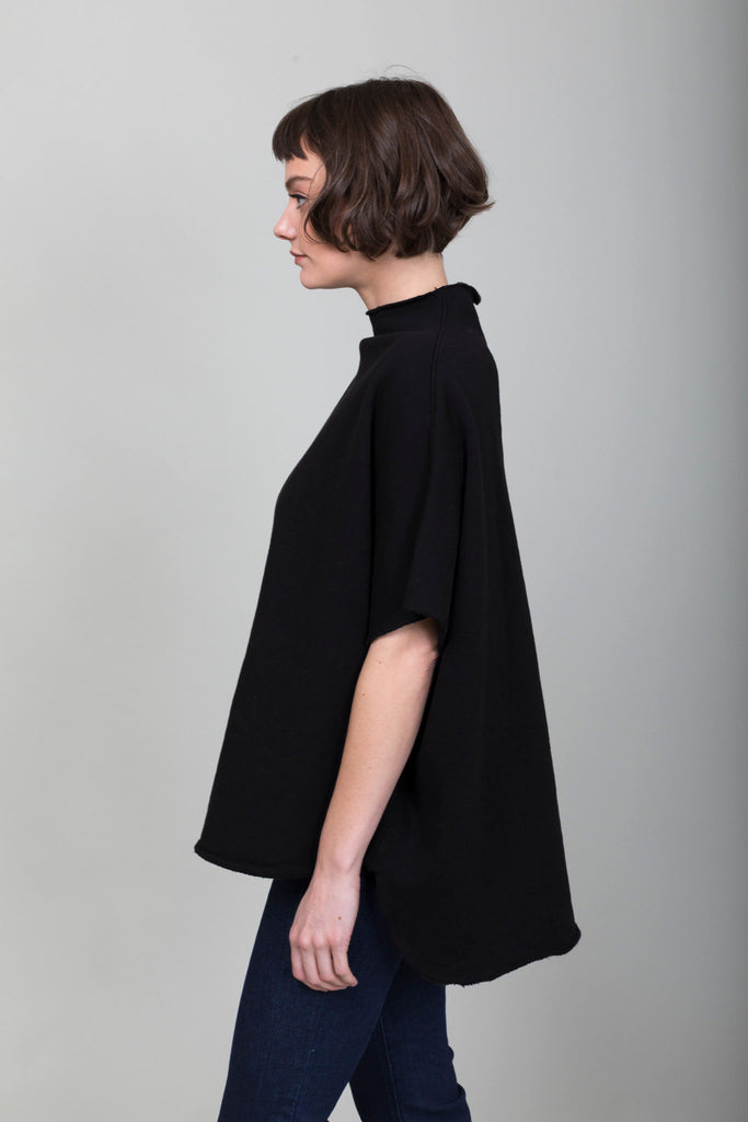 Tee Lab - Funnel Neck Capelet - Black - Verdalina