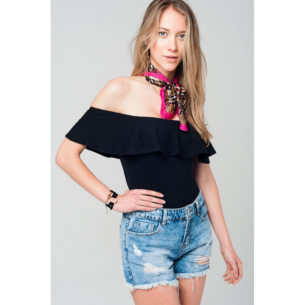 Off shoulder ruffle black bodysuit / ONLINE EXCLUSIVE