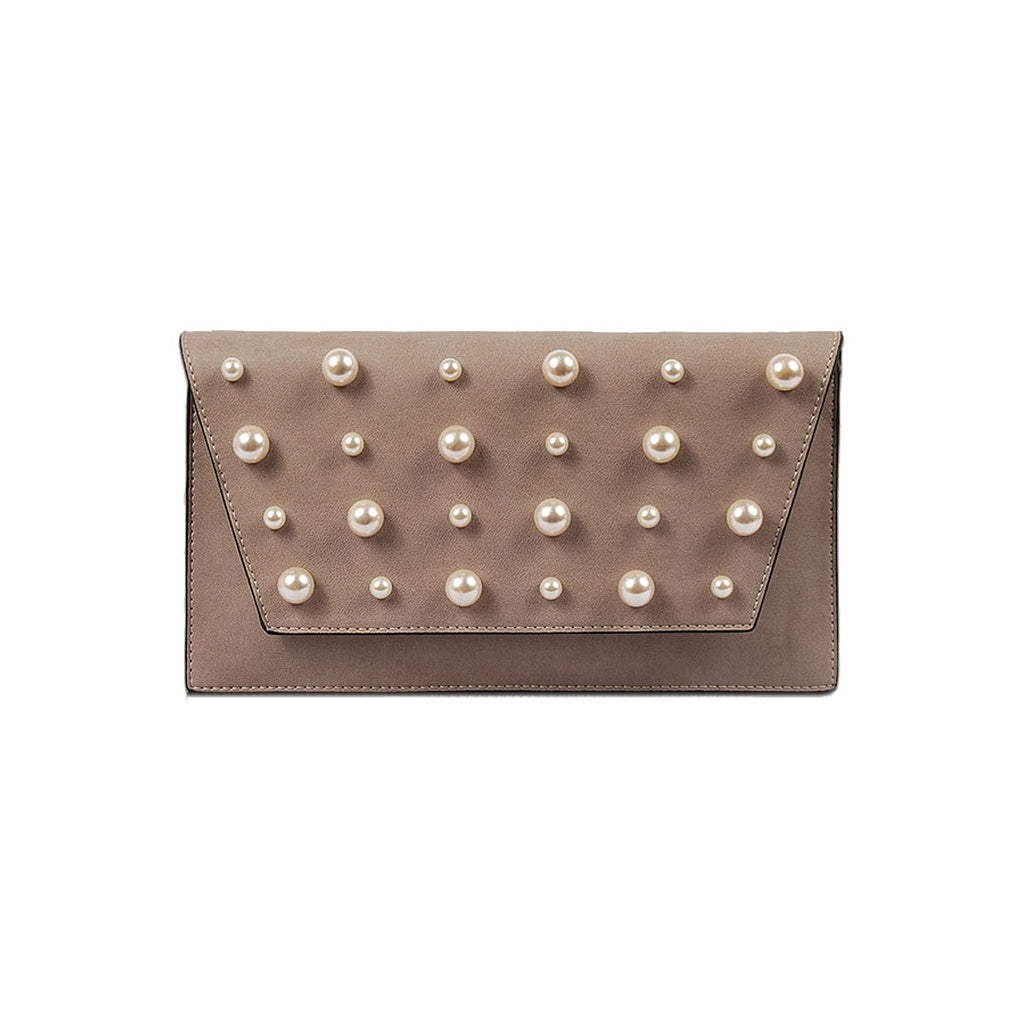 Taupe Pearl Envelope Clutch