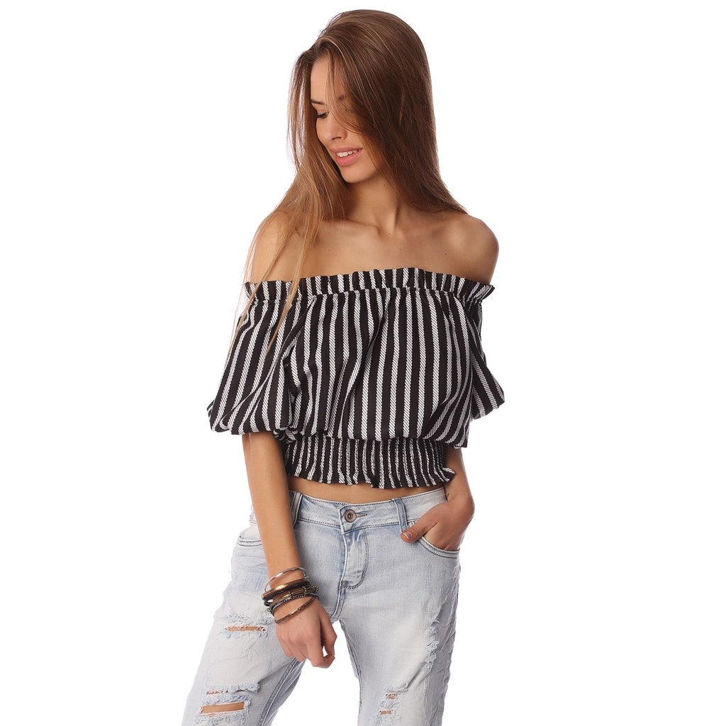 Black crop top in stripe with off shoulder /ONLINE EXCLUSIVE