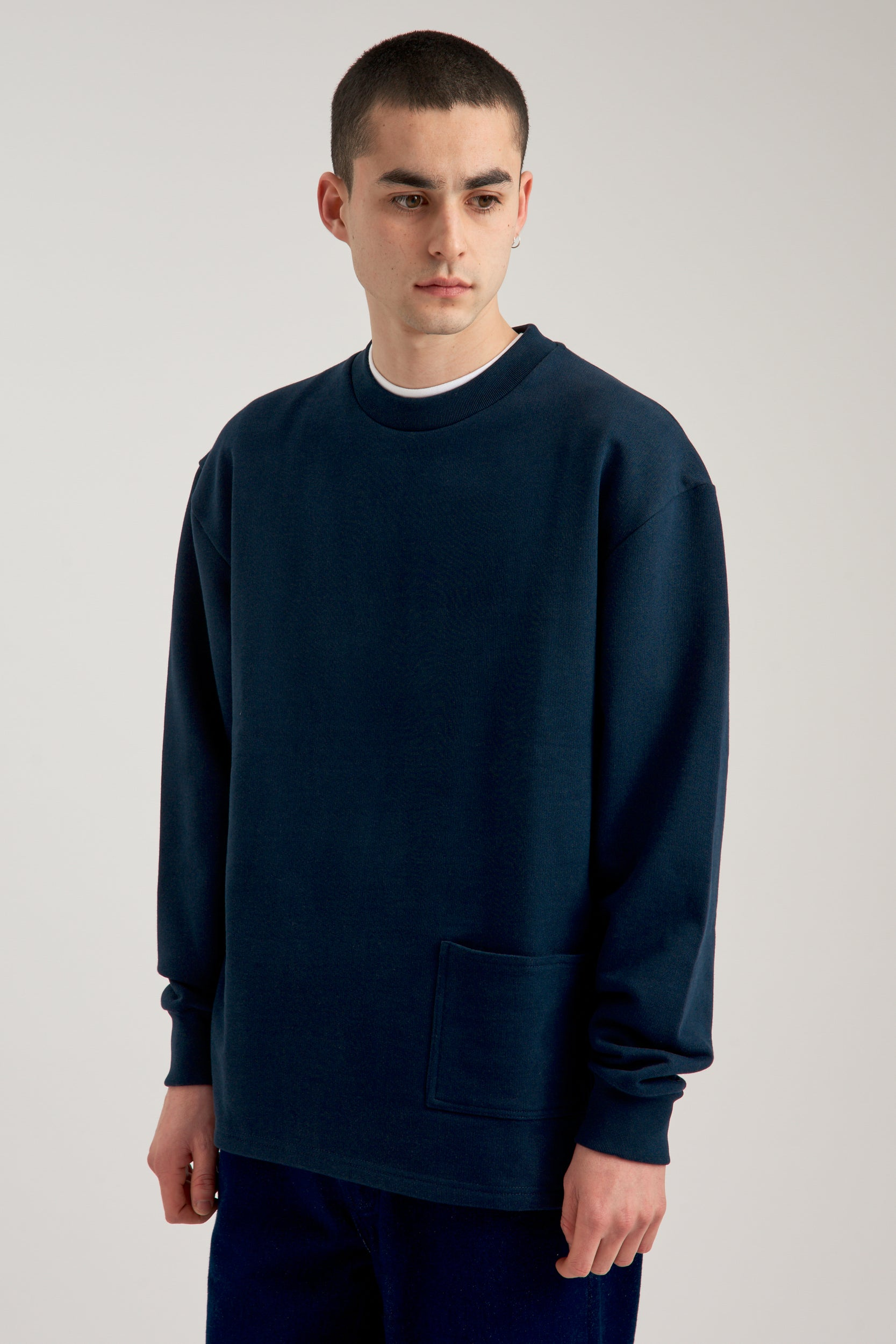 Charles Pocket Navy Sweater