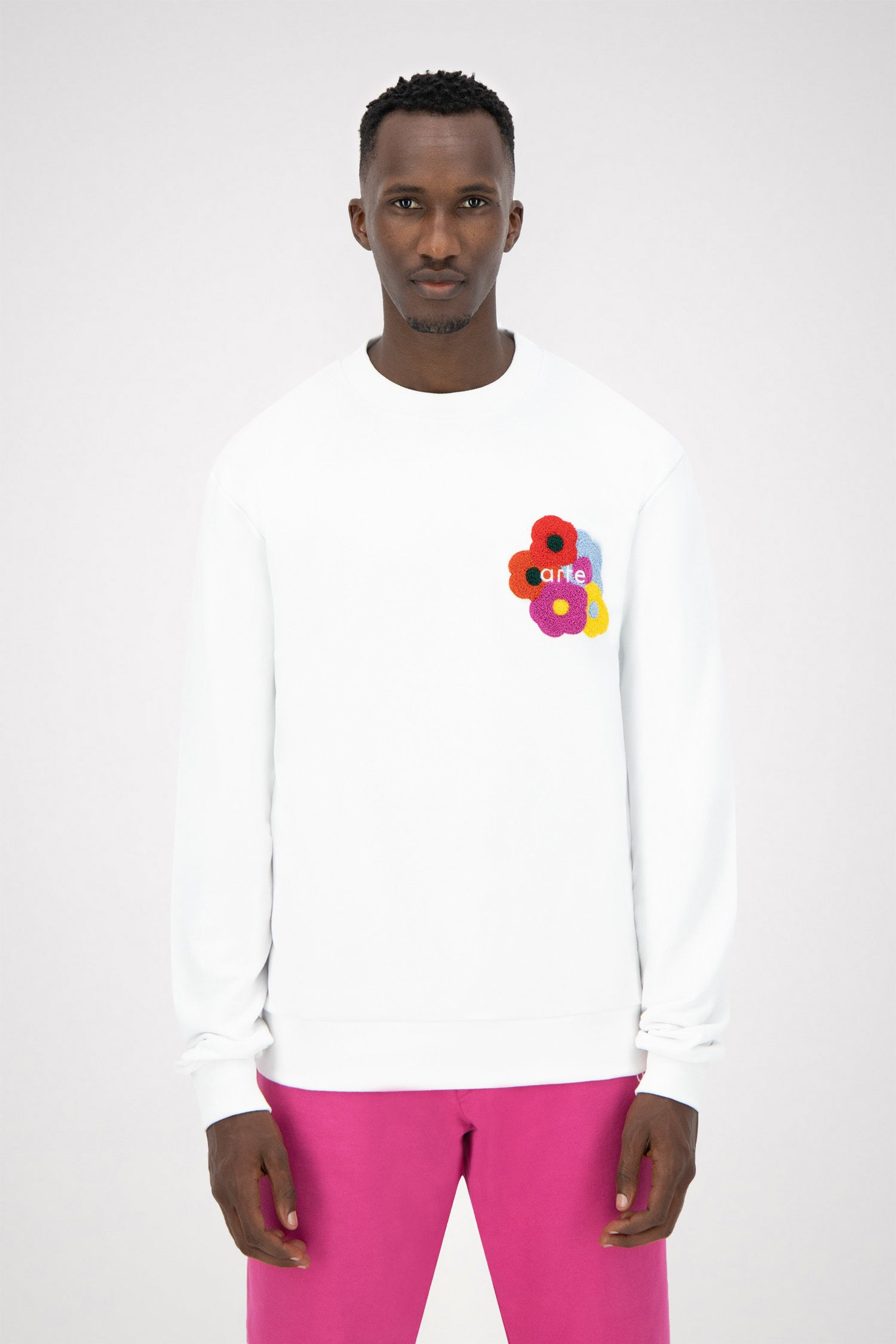 Colson Multi Flower Sweater - White