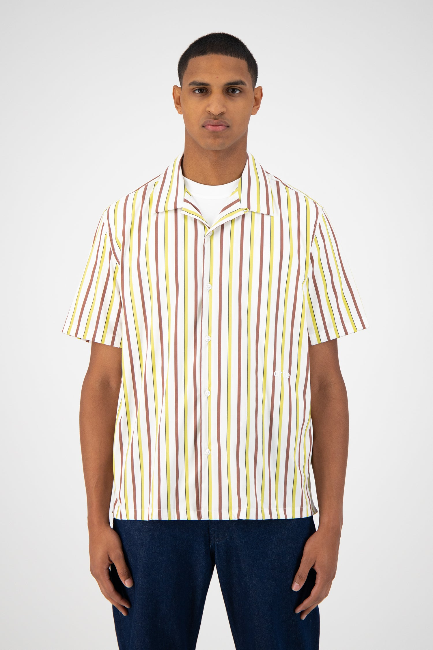 Steven Shortsleeve Shirt - Brown Striped