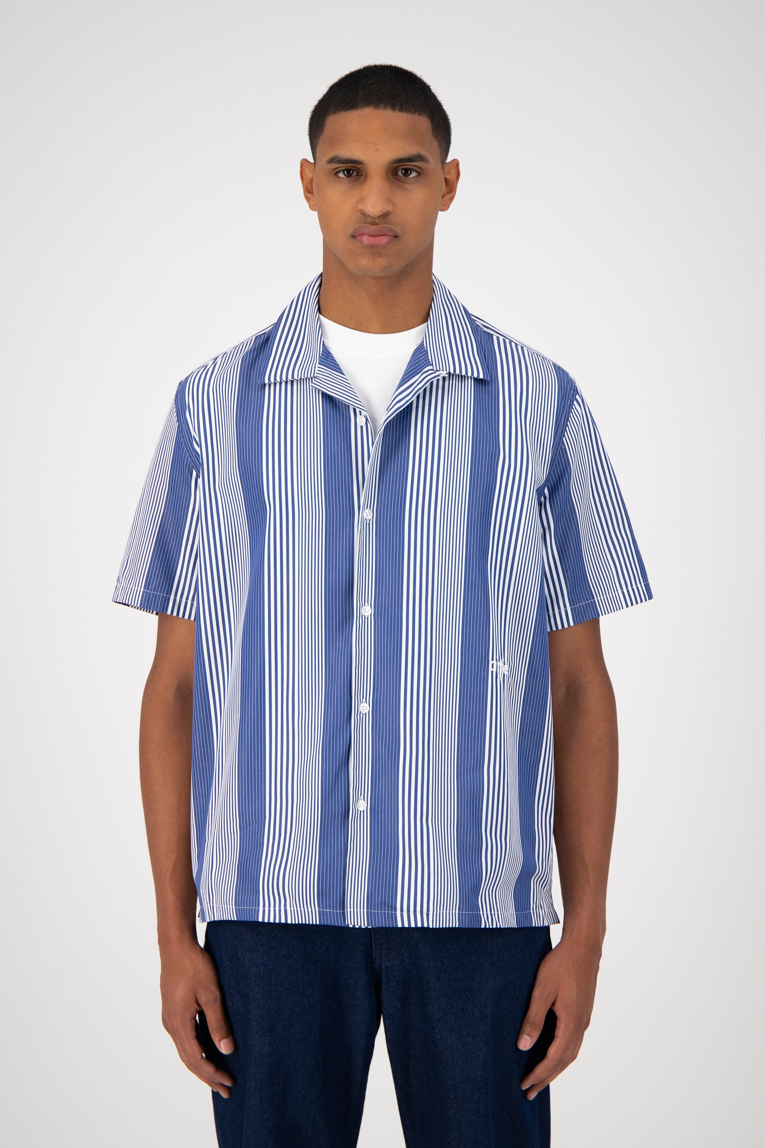 Steven Shortsleeve Shirt - Blue Striped