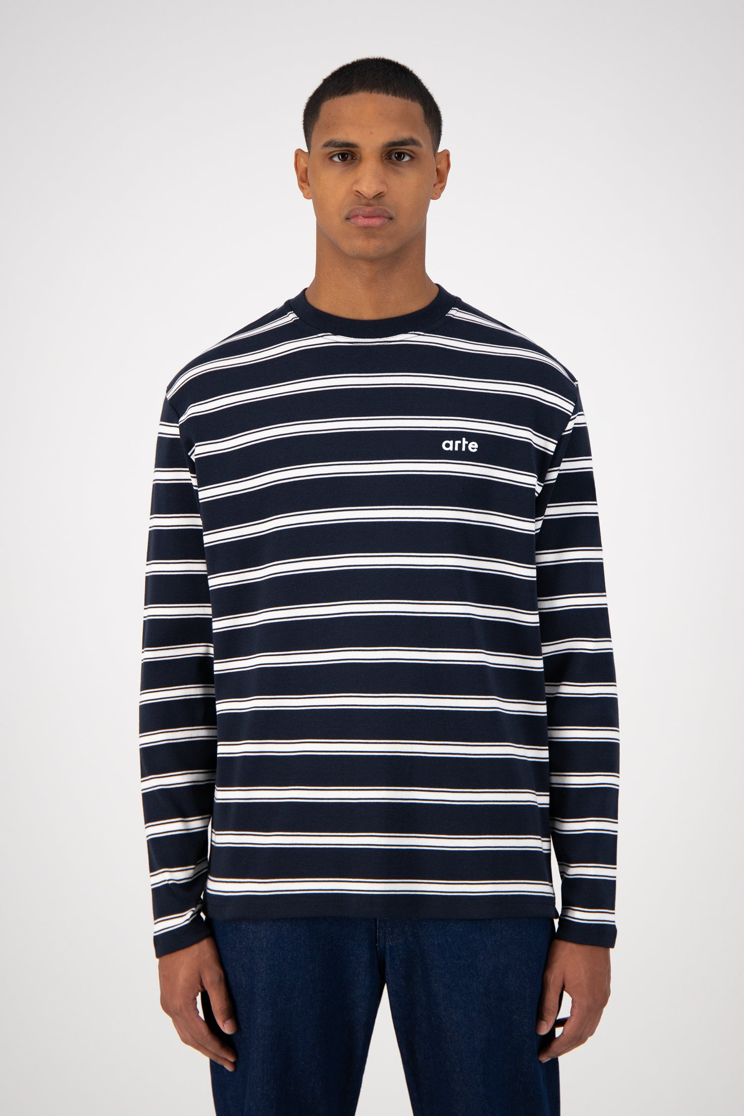 Lino Long Sleeve - Navy Striped