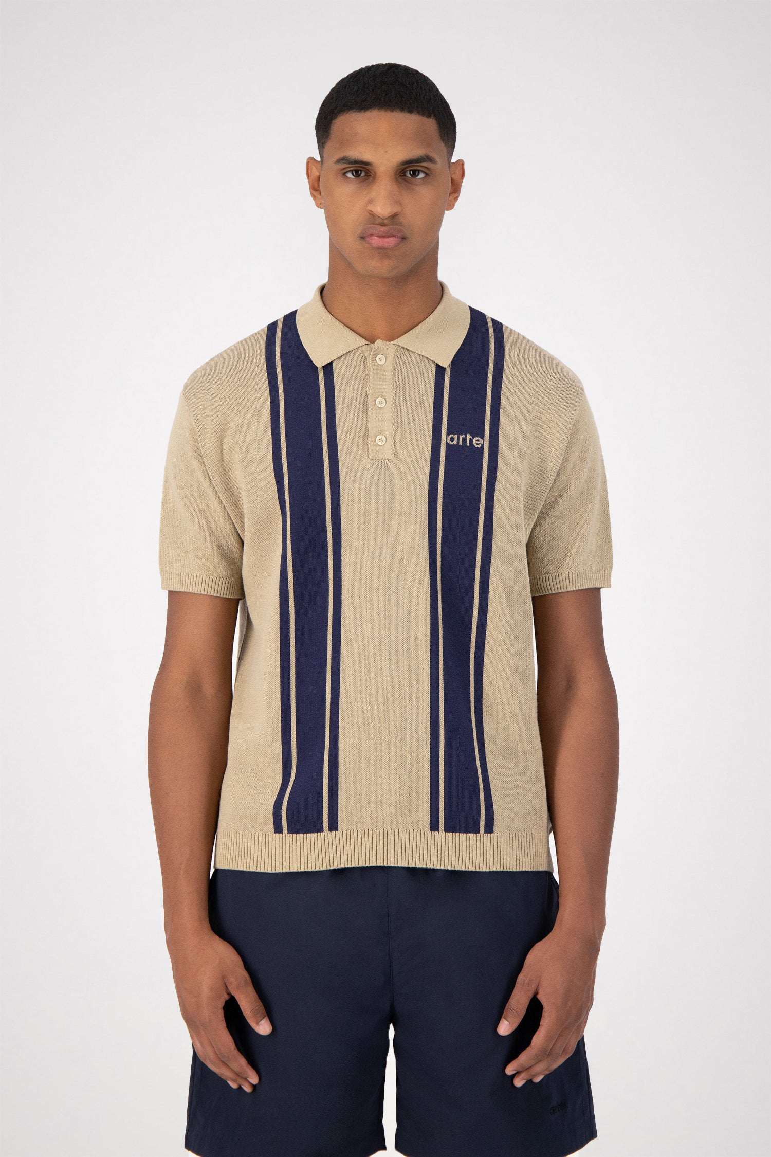 Pete Polo Shirt - Creme/Navy